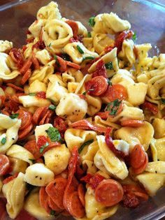 Tortellini Salad: I didn't eat any because I'm prego and can't eat the pepperoni's but it seemed to be a hit. I used white/green totellinis and a creamy dressing. I think a regular italian would be good too. Be ware that 20oz of tortellini's run ~$7.. wasn't expecting that!