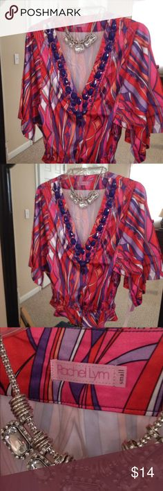 Rachel top Multi colored silky soft top with accents is so cute you'll love this! Rachel Tops Tunics