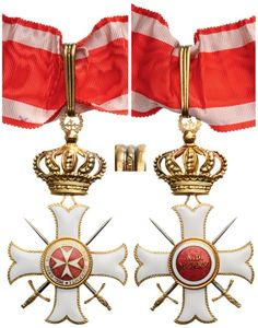Commander's Cross, 3 rd Class, Military Division, instituted in 1920. Neck Badge, 95x54 mm, gilt  Silver, both sides enameled, both central medallions gilt, enameled, with crown suspension device,  loop and long ribbon