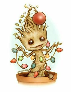 Christmas Groot, Guardians of the Galaxy fanart Marvel Squad, Marvel Comics, Chibi, Avengers, Fanart, I Am Groot, Geek Stuff, Pokemon, Dibujos Cute