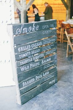 Wooden Menu Signs That'll Have Your Wedding Guests Dying for Dinner | Brides