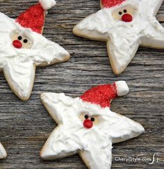 Break out your star-shaped cookie cutter—it's just what you need to make decorated Santa cookies!