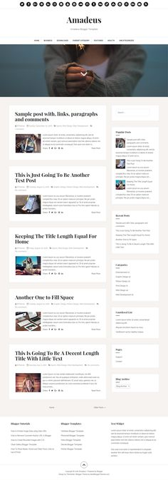 amadeus is a clean 100 responsive blogger blog theme that features a modern