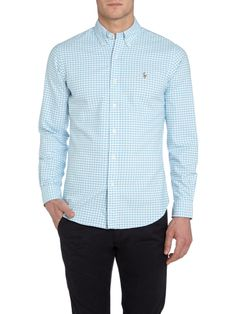 0f5cfe53224 Polo Ralph Lauren Classic Slim Fit Long Sleeve Gingham Shirt in Blue for Men  (Turquoise