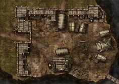 Bandit camp, a printable battle map for Dungeons and Dragons / D&D, Pathfinder and other tabletop RPGs. Tags: bandit, camp, encounter, fortified, tent, bridge, rocky, hill, mountain, tile set, wall, walls, print
