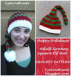 EyeLoveKnots: Adult Granny Square Elf Hat - Free Crochet Pattern...