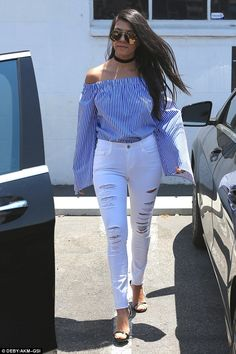 Summer style: Kourtney Kardashian was looking good on Monday in Los Angeles