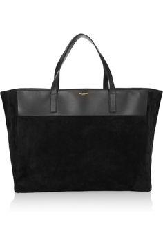 Saint Laurent, reversible suede and leather tote _ purse Best Handbags, Tote Handbags, Leather Pouch, Suede Leather, Saint Laurent Tote, Cheap Designer Handbags, Beautiful Bags, Tote Bag, Purses