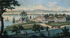 Anlage von Schloss Arenenberg von Süden. kolorierte Umrissradierung von Nikolaus Hug, um 1825.