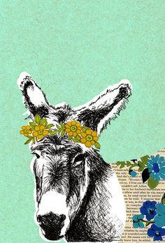 Donkey Print. Illustration. Art. Wallpaper. by delilahdevine