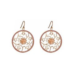 Gala by Daniela Swaebe Lotus Medallion Earrings in Rose Gold ($286) ❤ liked on Polyvore featuring jewelry, earrings, rose earrings, medallion jewelry, circle earrings, flower earrings and rose jewellery
