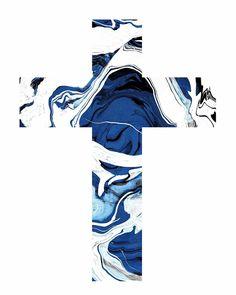 Abstract Print Blue Ink Cross Art | Etsy