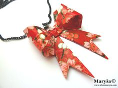 Origami Ribbon Necklace Red with pink flowers Origami by MarysaArt