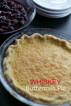 Whiskey Buttermilk Pie with Blackberry Compote via @spinachtiger