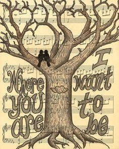 So sweet!   Winged Heart Carved Tree Art Print