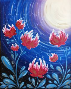 Have a girls' night out painting Moon Blossom at Pinot's Palette! #painting #girlsnight