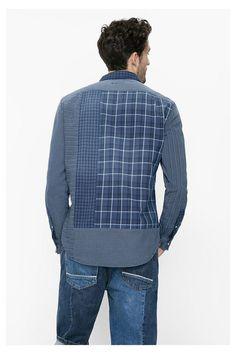 Camisa azul a cuadros   Desigual.com