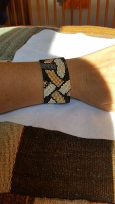 Black Silver & gold peyote bracelet