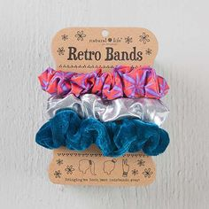 Red Burst & Silver Retro Scrunchies - Remember these? We're bringing back the best hair bands ever!