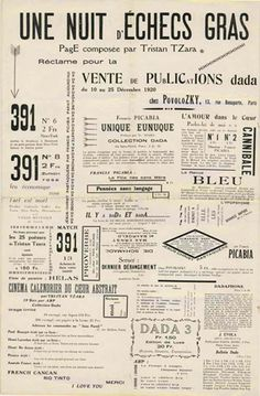 Table of Contents: Dada& Visual Communication; After All Everyone Dances to His Own Personal Boomboom Dada Typography and Aesthetics . Tristan Tzara, Kurt Schwitters, Typography Images, Typography Inspiration, Design Typography, Dada Artists, Francis Picabia, Lettering, Visual Communication