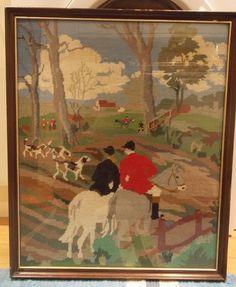 "Vintage Equestrian Hunting Scene English Tapestry - 23.1 x 19.1"" Framed Large"