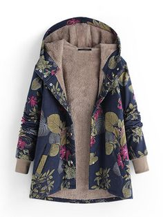 f8bbd2e106e0 Women Floral Print Thicken Long Sleeve Hooded Vintage Coats with Pockets  Patchwork, Kámzsa, Hosszú