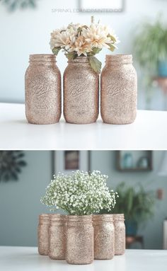 Wedding Decorations Mason Jars Pink - 39 mason jar wedding centerpieces for every wedding - page 2 Mason Jar Crafts, Mason Jar Diy, Mason Jar Vases, Gold Glitter Mason Jar, Gold Glitter Wedding, Glitter Eye, Rose Gold Glitter, Centerpiece Table, Centerpiece Flowers