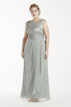 Elegant and sophisticated, this illusion lace and mesh dress is perfect for any Mother of the Bride!  Illusion metallic lace cap sleeve bodice features an ultra-feminine sweetheart neckline.  Long and luxe mesh skirt features draped detail for added drama and movement.  Designed by Patra.  Fully lined. Imported polyester blend. Back zipper. Professional spot clean only.