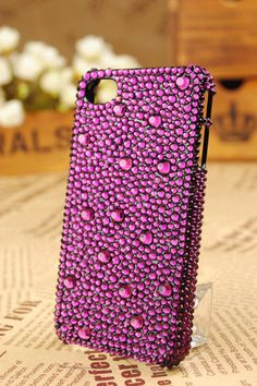 Handmade Covered with purple crystal cell phone set by emma999, $19.90
