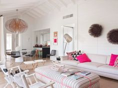 Think beach house think white painted walls and accents of blue and sea green. Perhaps that sho...