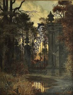 Ferdinand Knab Gateway to the park - Evening mood 1896 Fantasy Kunst, Fantasy Art, Pre Raphaelite, Arte Popular, Fantasy Landscape, Ferdinand, Dark Art, Les Oeuvres, Landscape Paintings