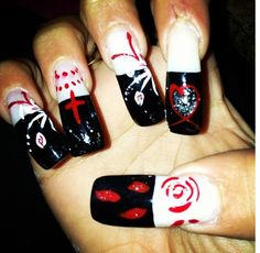 Black, red & white French nails with hearts, crosses, flowers & roses designs !! dope nails ever done ❤➕