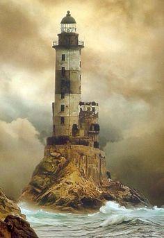 Aniva lighthouse off the southeastern cape of Sakhalin island, Sakhalin, Russia.