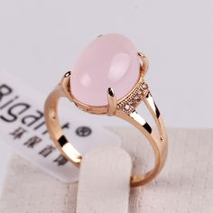 Pink 6 New Fashion Pink Oval Opal Germstone Rings 18K Gold Plated High Quality Small Delicate FJ0002 Cubic Zircons Inserted