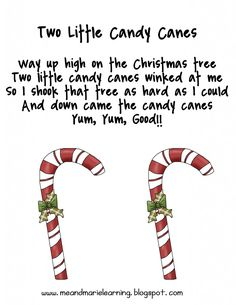 "Song, ""Two Little Candy Canes"" (free; from Me & Marie Learning): Preschool Christmas Songs, Xmas Songs, Preschool Music, Christmas Activities, Christmas Songs For Toddlers, Christmas Crafts, Christmas Printables, Christmas Candy, Kids Christmas Poems"
