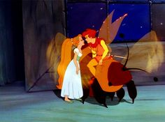 Thumbelina and Cornelius almost kiss