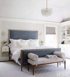 Bed linen too white, but love the bedrame, headboard and window to the side +++ white walls :)