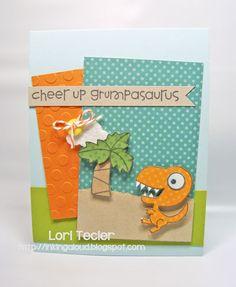 I just like the idea of a card for grumpy people.  Cheer Up, Grumpasaurus