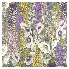 Echo scarf 'Vintage Vines Scarf' a recolored design from their archive depicting Hollyhock, Salvia, and Lupine motifs.