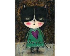 Love kitty tuxedo cat reproduction mixed media painting by Danita Art