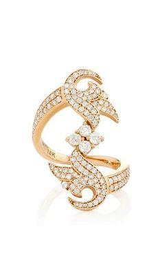 White diamond french tulip cluster vertical ring by SARA WEINSTOCK Preorder Now on Moda Operandi