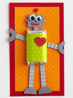 robot valentines- made with a mini candy bar.  darling!