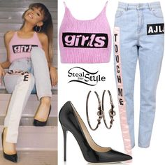 Ariana Grande posted some pictures a few days ago wearing an Alexander Wang Girls Angora Crop Top ($395.00), Au Jour Le Jour High-Waist Cotton Denim Jeans ($336.00), Wendy Yue Snake Hoop Earrings ($8,850.00) and Jimmy Choo Anouk Pumps ($595.00). You can find similar pumps for less at GoJane ($19.46).
