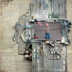 Vintage style scrapbooking layout.
