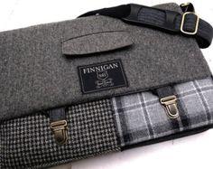 "Mens 15"" laptop Messenger Bag , 15""  Macbook Pro Laptop Sleeve, tote bag, Black Gray Plaid Wool, Recycled suit coat"