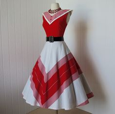 Vintage 1950s dress ...classic red and white chevron striped crisp cotton…