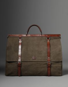 Sicily travel bag: Canvas weekend bag with leather trims #musthave #bag .. i know 1 man that would rock this