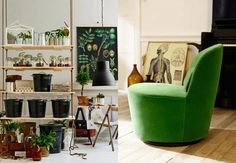 Green and greenery, #interior design #chair