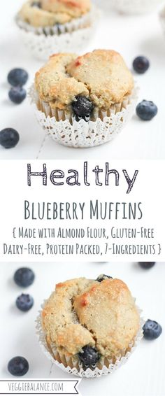 Just refined sugar-free, dairy-free, and low-sugar. Just refined sugar-free, dairy-free, and low-sugar. Gluten Free Blueberry Muffins, Almond Flour Muffins, Almond Flour Recipes, Healthy Muffins, Blue Berry Muffins, Healthy Sweets, Healthy Baking, Blueberries Muffins, Coconut Flour