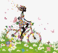 Brilhante Primavera Mulheres de silhuetas vetor material, Prado, A Primavera, A Borboleta Imagem PNG